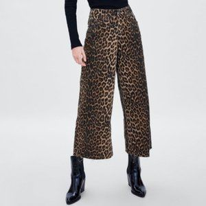 Zara Leopard Wide Leg Culottes Crop Jeans NWT